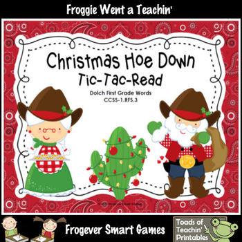 Literacy Center--Christmas Hoe Down Tic-Tac-Read (1st Grad
