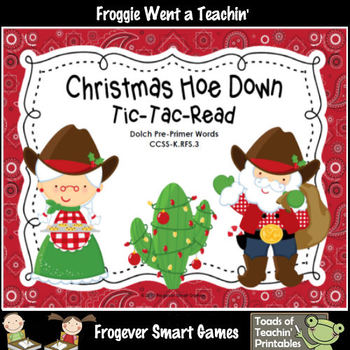 Literacy Center--Christmas Hoe Down Tic-Tac-Read (Pre-Prim