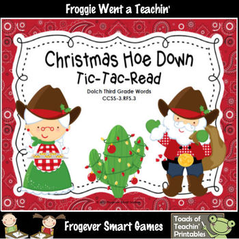 Literacy Center--Christmas Hoe Down Tic-Tac-Read (Third Gr