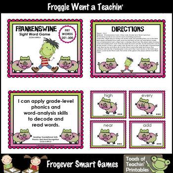 Literacy Center--Frankenswine Sight Word Game (Third 100 F