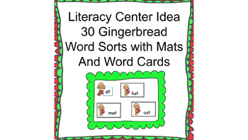Literacy Center Gingerbread Word Sorts 30 Word Families