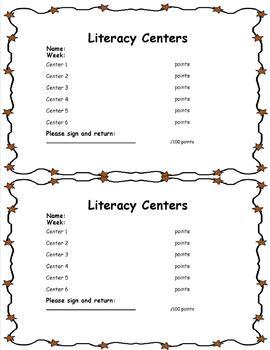 Literacy Center Grade Sheet