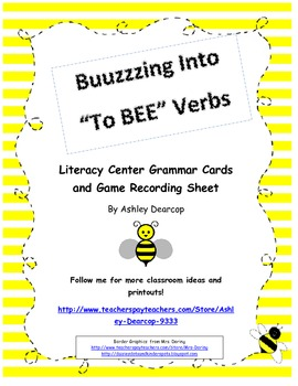 Literacy Center Grammar Card Game and Recording Sheet:  To