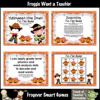 Literacy Center--Halloween Hoe Down Tic Tac Read Bundle I