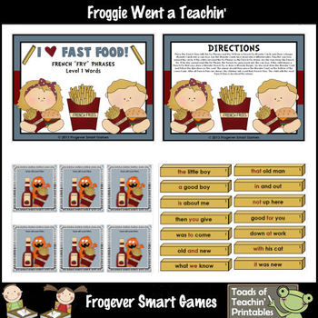 """Literacy Center -- I Love Fast Food French """"Fry"""" Phrases ("""