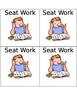 Literacy Center Labels -Seat Work