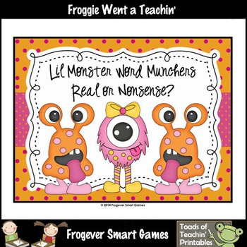 Literacy Center--Lil Monster Word Munchers Real/Nonsense Words
