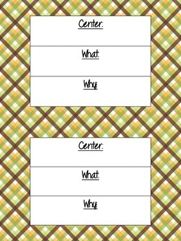 Literacy Center Objective & Rationale Signs FREEBIE!! (Grn
