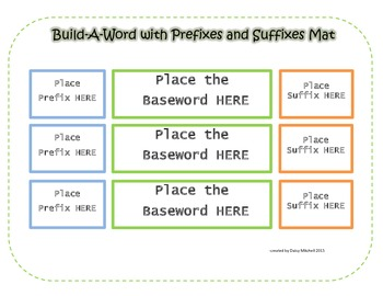 Literacy Center Prefixes and Suffixes Mat to Build NEW Wor