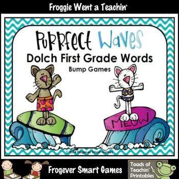 Literacy Center--Purrfect Waves Dolch First Grade Words Bu