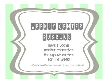 Weekly Literacy Center Rubric