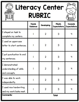 Literacy Center Rubric