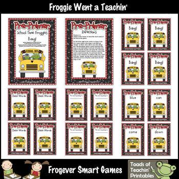 Literacy Center--School Time Froggies (Pre-Primer Words)