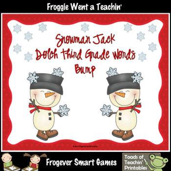 Literacy Center--Snowman Jack Dolch Third Grade Words Bump Games