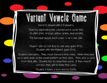 Literacy Center Variant Vowels Game