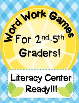 Literacy Center Word Work Games for 2nd-5th Graders