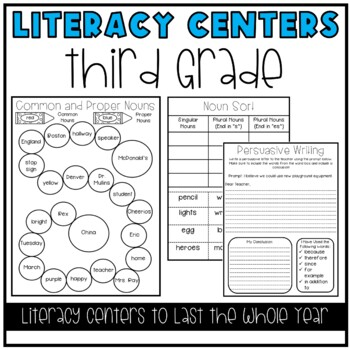 Literacy Centers BUNDLE (3rd Grade Year-Long Set)