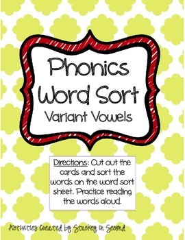 Literacy Centers 5-3 (Variant Vowels, Synonyms, Possessive