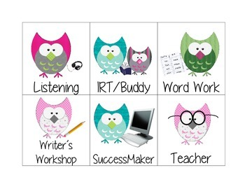 Literacy Centers Cards- Owls
