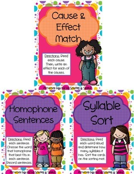 Literacy Centers Pack- Cause and Effect, Homophones, Sylla