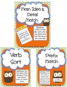 Literacy Centers Pack- Main Idea & Details, Future Tense V