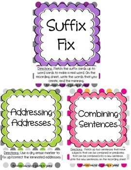 Literacy Centers Pack-Suffixes, Combining Sentences, Addre
