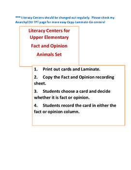 Centers for Big Kids: Fact and Opinion, Animal Set