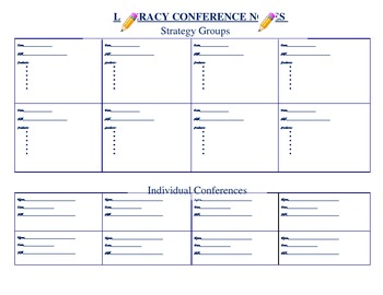 Literacy Conference Notes Template