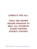 Literacy For All: Expert Reader Literature Circles