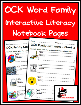 Literacy Interactive Notebook Pages - OCK Word Family