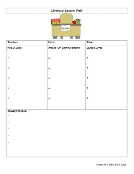 Literacy Lesson Visits Template