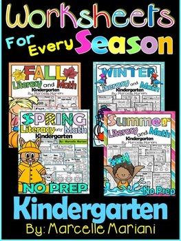 Literacy & Math No Prep Kindergarten for every season- Yea