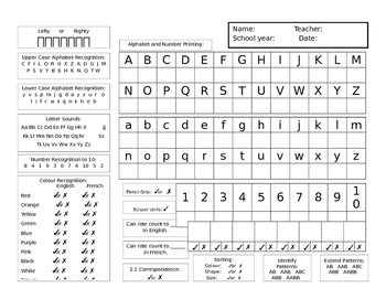 Literacy, Math and Fine Motor Assessment