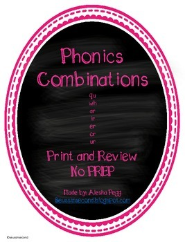 Literacy Phonics Word Works Combinations qu wh ar ir er ur or