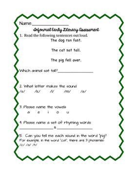 Literacy Pre-Assessment for Lower Grades