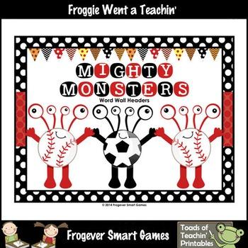 Literacy Resource--Mighty Monsters Word Wall Headers
