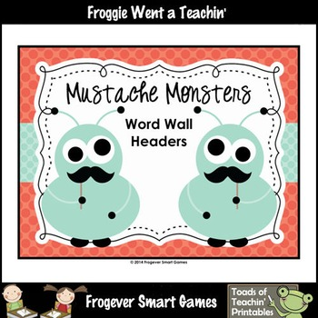 Literacy Resource--Mustache Monsters Word Wall Headers