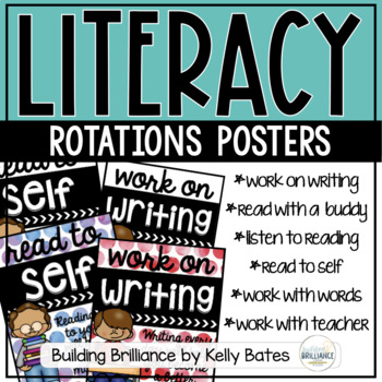 Literacy Rotation Posters Watercolor Dots and Kids