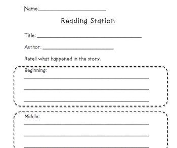 Literacy Station Recoding Sheets