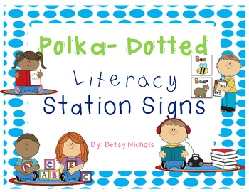 Literacy Station Signs (Polka Dotted)