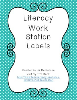 Literacy Work Station Labels Colorful Dots