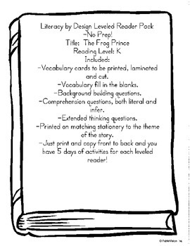 "Literacy by Design Leveled Reader Pack ""The Frog Prince"" l"