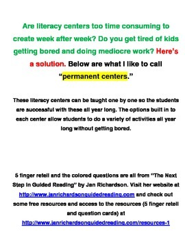 Literacy centers for the entire year! BUNDLE