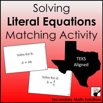 Solving Literal Equations Activity