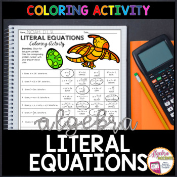 Writing Literal Equations