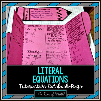 Literal Equations Foldable Page