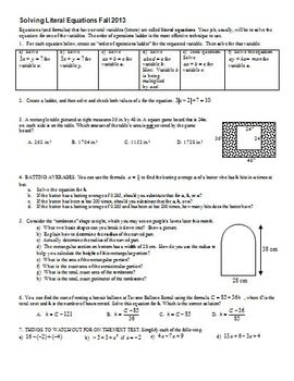 Literal Equations - Solving Literal Equations Fall 2013