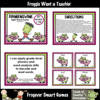 Literacy Center--Frankenswine Sight Word Game (First 100 F