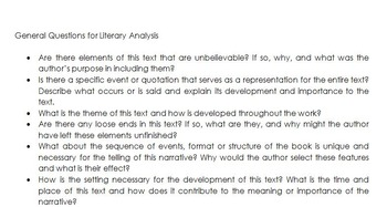 Literary Analysis: Introduction and Questions