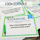 Literary Analysis Task Cards Comprehension, Prompts, Any P